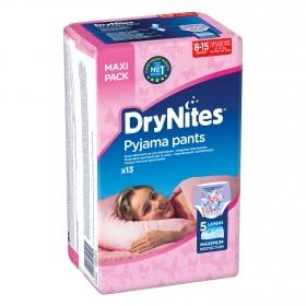 Ropa interior absorbente niña noche DryNites 8-15 años (27kg-57 kg.) 13 ud.