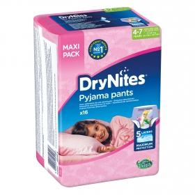 Ropa interior absorbente niña noche DryNites 4-7 años (17kg-30 kg.) 16 ud.