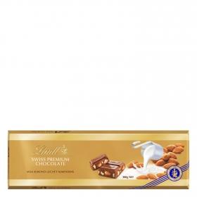 Chocolate suizo con leche y almendras enteras premium Lindt 300 g.