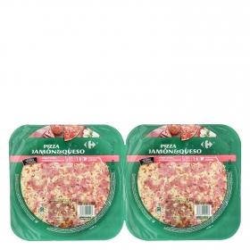Pizza fresca de jamón y queso Carrefour pack de 2 unidades de 225 g.