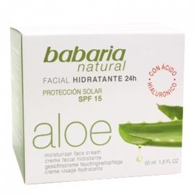 Crema Hidratante Facial 24 horas con Aloe Vera Babaria 50 ml.