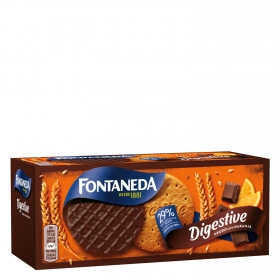 Galleta  con naranja bañada en chocolate negro