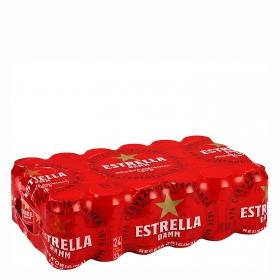Cerveza Estrella Damm mediterránea pack de 24 latas de 33 cl.