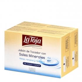 Jabón de manos en pastilla con sales minerales La Toja pack de 2 pastillas de 125 g.