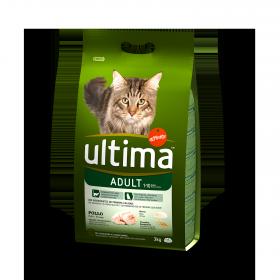 Ultima Pienso para Gato Adulto Sabor pollo y arroz 3kg.