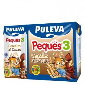 Leche 3 de crecimiento con cereales al cacao líquida Peques 3