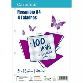 Recambio A4 con 4 Taladros 100H Cuadrícula 4mm Carrefour