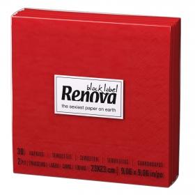 Servilletas rojas 2 capas de celulosa Renova 30 ud.