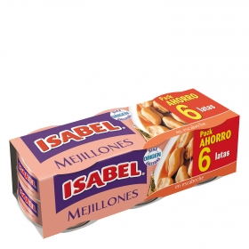 Mejillones en escabeche Isabel pack de 6 unidades de 43 g.