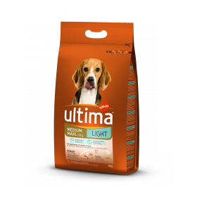 Ultima Pienso para Perro Adultos Medium - Maxi Light Sabor pollo y arroz 3kg.