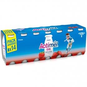 Yogur L.Casei líquido con fresa Danone Actimel pack de 14 unidades de 100 g.