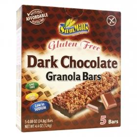Barritas de cereales con chocolate negro SamMills sin gluten 124 g.