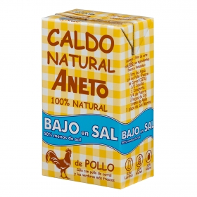 Caldo natural de pollo bajo en sal Aneto sin gluten 1 l.
