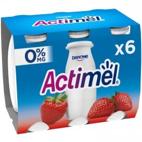 Yogur L.Casei desnatado liquido con fresa Danone Actimel pack de 6 unidades de 100 g.