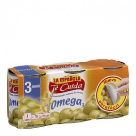 Aceitunas verdes rellenas de anchoa  La Española pack de 3 latas de 50 g.
