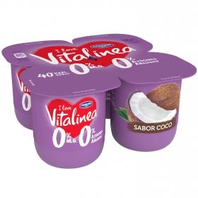 Yogur desnatado de coco Danone Vitalinea pack de 4 unidades de 125 g.