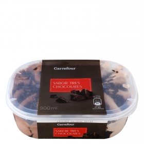 Helado de tres chocolates Carrefour 900 ml.