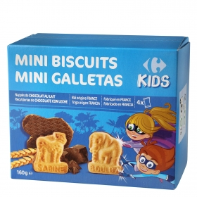 Galletas recubiertas de chocolate y leche Mini Biscuits Carrefour Kids 160 g.