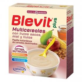 Papilla multicereales, frutos secos, miel y frutas