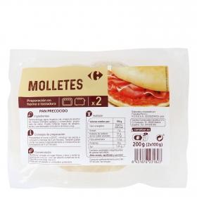 Molletes de pan para hornear o tostar Carrefour pack de 2 unidades de 100 g.