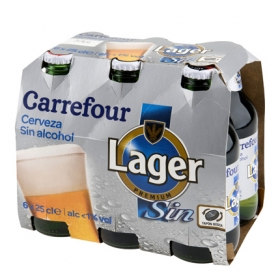Cerveza Carrefour Lager sin alcohol pack de 6 botellas de 25 cl.