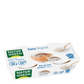 Postre de coco ecológico Naturgreen sin gluten sin lactosa pack de 2 unidades de 125 g.