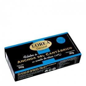 Anchoa del Cantábrico en aceite de oliva contenido reducido de sal Gourmet Lorea 30 g.