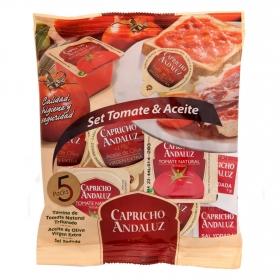 Set de desayuno mediterráneo (5 monodosis de aceite oliva virgen extra 10 ml. + 5 monodosis de tomate 28 g. + 5 sobres de sal 1 g.)