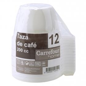 12 Tazas  de Plástico CARREFOUR HOME  8,25x11,9cm, - Blanca