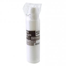 50 Vasos Café de Plástico CARREFOUR HOME  5,95x25,39cm - Blanco