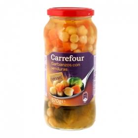 Combinado de garbanzos con zanahorias y coles de bruselas Carrefour 400 g.