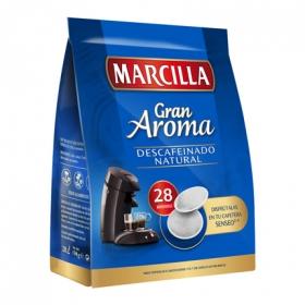 Café natural descafeinado monodosis Gran Aroma Marcilla compatible con Senseo 28 unidades de 7 g.