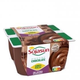 Postre de soja sabor chocolate Sojasun sin lactosa pack de 4 unidades de 100 g.