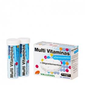 Multi Vitaminas + Oligoelementos sin azúcares Vallesol 24 comprimidos.