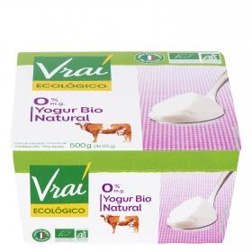 Yogur desnatado natural ecológico Vrai pack de 4 unidades de 125 g.