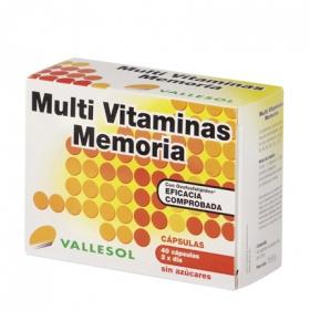 Multi Vitaminas Memoria sin azúcares Vallesol 40 cápsulas.