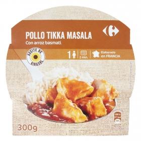 Pollo tikka masala con arroz basmati Carrefour 300 g.
