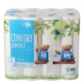Papel higiénico compact doble rollo Carrefour 32 rollos.