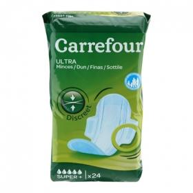 Compresas ultrafinas con alas super Carrefour 24 ud.