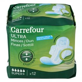 Compresas ultra fina con alas super Carrefour 12 ud.