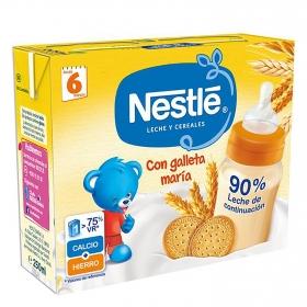 Papilla líquida ' Lista para tomar ' con Leche de continuación y Galleta Nestlé pack de 2 unidades de 250 ml.