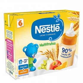 Papilla líquida de cereales multifrutas Nestlé pack de 2 unidades de 250 ml.