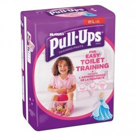 Pañales de aprendizaje niña Huggies Pull-Ups T. L (16-23 kg.) 22 ud.