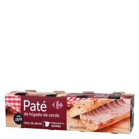 Paté de hígado de cerdo Carrefour pack de 4 unidades de 78 g.