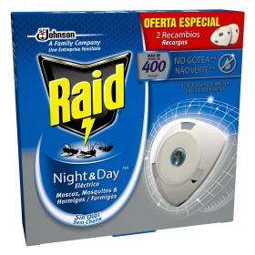 Insecticida eléctrico Night & Day moscas, mosquitos y hormigas Raid 2 recambios.