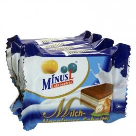 Mini barquillo con leche y crema de avellana MinusL sin lactosa 100 g.