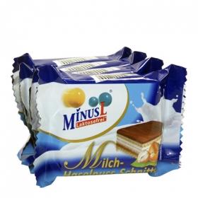 Mini barquillo con leche y crema de avellana sin lactosa