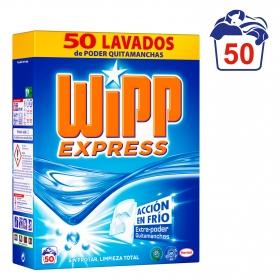 Detergente con quitamanchas en polvo Wipp Express 50 cacitos