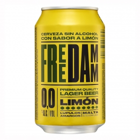 Cerveza Free Damm Lager 0,0 sin alcohol con limón lata 33 cl.