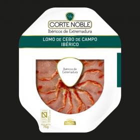 Lomo ibérico de cebo en plato Corte Noble Argal 75 g. 75 g.